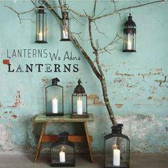 yes we adore Lanterns. Amalia: me gustan los colores azules del escaparate junto con las velas