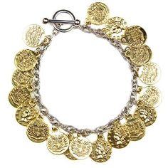 Gold Coin Bracelet Links Luxe. $29.00
