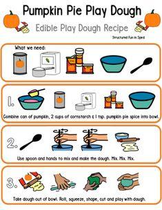 Pumpkin Play Dough Visual Recipe by Structured Fun Teaching Cooking In The Classroom, Preschool Cooking, Fall Preschool, Kindergarten Fun, Autism Classroom, Special Education Classroom, Future Classroom, Fun Learning, Preschool Activities
