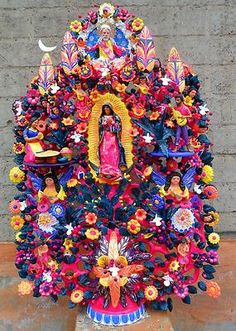 Our Lady of Guadalupe Huge Amazing Soteno Tree of Life by Moises Soteno Los Naguales at Baja Gallery. www.bajagalleryrosarito.com