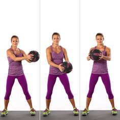 To start: Grab a medicine ball that's between five and 15 pounds. Stand with your feet shoulder-width apart, making sure your knees are not locked. Then try one of these two variations.    For stability: Start with the ball at chest level, and slowly write the cursive alphabet in front of you. While your arms move around in all sorts of angles, you need to use your abs to keep your torso still.