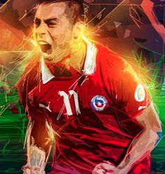 Gráfica Paraguay v/s Chile, Dublin — Eduardo Vargas. by Félix Farías, via Behance Good Soccer Players, American Football, Trippy, Fifa, Scores, Goal, Behance, Fictional Characters, Brazil