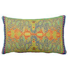 Kuna Indian tribal inspired lumbar pillow design from my Zazzle.com shop - www.Zazzle.com/WitchesHammer
