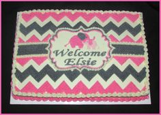 Pink and Gray / Chevron / Baby Elephants / Girl's Baby Shower Cake - Buttercream icing only here!  This is on a 1/2 sheet cake.