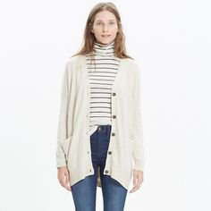 NWOT Madewell Long Cardigan Sweater  Super cute, nice and medium-weight cardigan sweater from Madewell! Bought it in stores for $88 but never even touched it since.. Very nice quality cardigan in a light beige color :) I'm 5'3 and it comes to about mid thigh, and it's perfect for spring/fall weather fits EASILY up to a medium (for model fit) Madewell Sweaters Cardigans