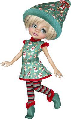 Elf Doll, Little Designs, Paint Shop, Cute Dolls, Elves, Crochet Hats, Clip Art, Quilts, Painting