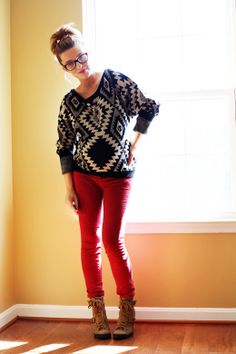 love that sweater with the red pants