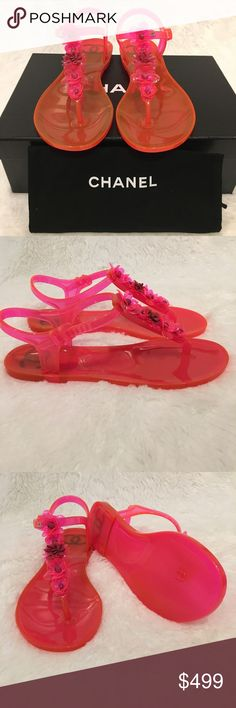 CHANEL Beach Thong Camellia Jelly Sandals Hot Pink Brand New Chanel Jelly Camellia T Strap Thong Sandals with in Hot Pink. Comes with dust bags and box. CHANEL Shoes Sandals