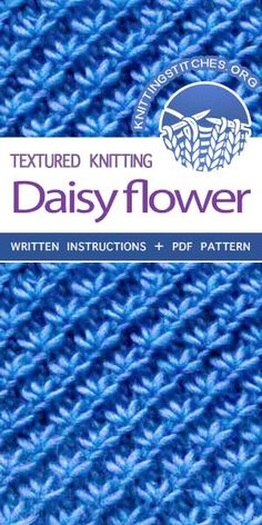KnittingStitches - The Art of Knitting knit Daisy flower stitch knittingstitches knitpurl Knitting Stiches, Easy Knitting, Loom Knitting, Knitting Patterns Free, Crochet Stitches, Stitch Patterns, Knitting And Crocheting, Lace Knitting Patterns, Knitting Machine