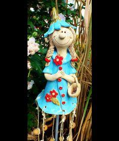 Gartendekoration - Elfe Gnom Troll Windspiel Gartenkeramik - ein Designerstück…