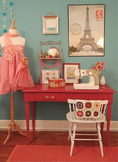 i had a crafting/sewing room very similar to this one.  even the little granny square project-of-the-moment going on, like the one on the chair !