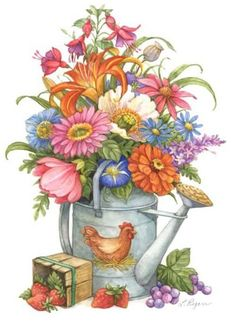 Lorraine Ryan Art - old watering can full of flowers Tole Painting, Painting & Drawing, Watercolor Paintings, Decoupage Vintage, Decoupage Paper, Art Floral, Botanical Illustration, Illustration Art, Flower Clipart