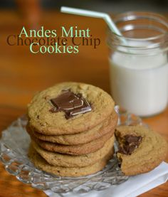 Andes Mint Chocolate Chip Cookies #recipe #cookies #mint