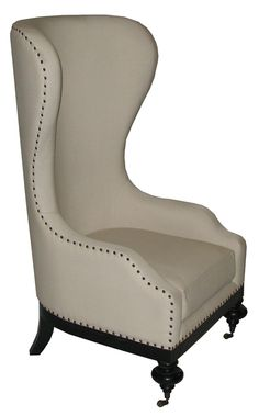 High Back Wing Chair with Casters and Nailheads