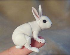 Ojos abiertos Peppi muñeca de BJD de conejo crema blanco by Cocoriang | Etsy