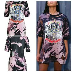 """Now available to order: """"Guns and Roses"""" ... Check it out here! http://shopdgcouture.co/products/guns-and-roses-distressed-bleached-t-shirt-dress?utm_campaign=social_autopilot&utm_source=pin&utm_medium=pin"""