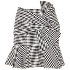 Veronica Beard Picnic Bow Plaid Cotton Skirt (620 CAD) ❤ liked on Polyvore featuring skirts, multicoloured, black white skirt, white and black skirt, bow skirt, multi color skirt and cotton knee length skirt