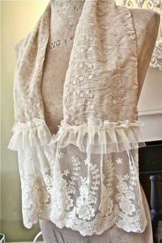 Making Shabby Scarves From Vintage Table Runners And Lace