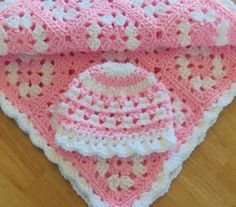 Beautiful pink and white granny square hat and afghan set for baby