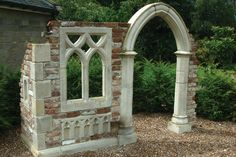 Folly Designs - Gothic Ruin, Potting Shed, Studio or Garden Facade - Folly examples that can be reproduced stone for stone, or used as a blueprint to fire your imagination Halloween Projects, Diy Halloween Decorations, Halloween Themes, Halloween Diy, Halloween Stuff, Halloween Graveyard, Halloween Tombstones, Gothic Garden, Beton Diy