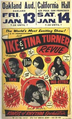 Ike + Tina show poster for San Francisco/Oakland (1968) by Colby Poster