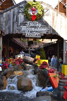 Gatlinburg in Tennessee's Great Smoky Mountains is named the top U. destination on the rise in 2016 by TripAdvisor. Ole Smoky Moonshine Holler in Gatlinburg decorated for the holiday season! Gatlinburg Vacation, Gatlinburg Tennessee, Gatlinburg Cabins, Tennessee Vacation, Gatlinburg Restaurants, Tennessee Attractions, Smoky Mountain Christmas, Smokey Mountain, Smoky Mtns