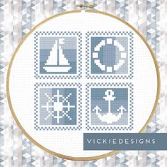 Blue Baby Blocks Nautical Sea Cross Stitch by VickieDesigns