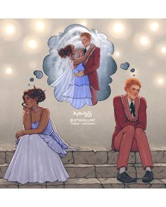 Ron and Hermione Harry Potter fan art Mode Harry Potter, Arte Do Harry Potter, Fanart Harry Potter, Harry Potter Comics, Harry Potter Drawings, Harry Potter Ships, Harry Potter Love, Harry Potter Fandom, Harry Potter Universal