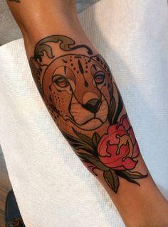 cheetah tattoo by dave wah Cheetah Tattoo, Big Cat Tattoo, Cat Tattoos, Sleeve Tattoos, Tatoos, Fire Tattoo, Tattoo Shows, Cover Up Tattoos, Neo Traditional Tattoo
