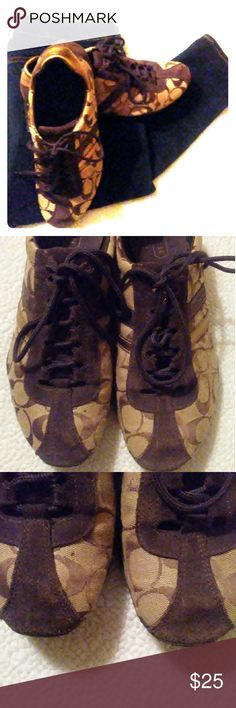 Brown Katelyn Coach Sneakers Comfy Cute fashion up for grabs with these dark brown signature coach sneakers. Slight wear on the suede at the toe as shown but still in great condition. Coach Shoes Athletic Shoes