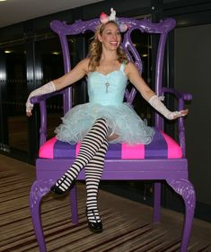 'Alice' in her wonderful Alice in Wonderland prop chair perfect for photo opportunities