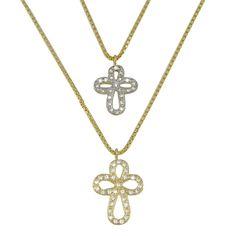 Gangantilha dupla, banhada em ouro 18K. Pingente cruz cravejado com zirconias.