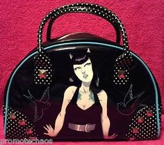 RARE OOP BOWLING HANDBAG TATTOO DEVIL SEXY Swallows Rockabilly Punk retro purse #purse #punk #toofast #bowling #bag ~★ Free US Shipping on 500+ awesome items our ebay store! 40% Off Sale! www.TerminusCity.com  ★