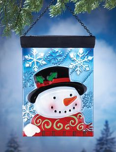 Solar Snowman Hanging Glass Panel Decoration