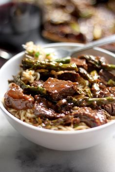 Steak and Asparagus Teriyaki Ramen - Steak and asparagus are cooked in ...
