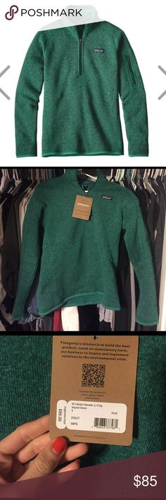 Better sweater Patagonia green BNWT better sweater Patagonia 3/4 zip in impact green color size small Patagonia Sweaters