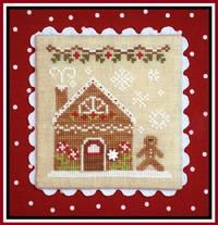 """""""Gingerbread House 2"""" counted cross stitch by Nikki Leeman of Country Cottage Needleworks.  Stitched on Wichelt's 32 count Lambswool Linen.  Stitch count:  55 wide by 60 high. Finished by Vonna Pfeiffer @ The Twisted Stitcher."""