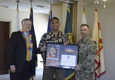 https://flic.kr/p/UkZ845 | AAPIH award | WSMR Acting Executive Director Randy Grunow, left, and WSMR Command Sgt. Maj. William Maddox, right present a framed certificate to Operations Sergeant Major for U.S. Army Reserve HHC, 5th Armored Brigade, Sgt. Maj. Mark Victory. Victory was the guest speaker at this year's event. Victor is 50 percent Asian, 40 percent Pacific-Islander and 10 percent Spanish.