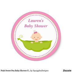 Pink Sweet Pea Baby Shower Favor Tag Sticker