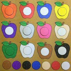 Apple color match for preschool and kindergarten Apple Activities, Preschool Learning Activities, Color Activities, Infant Activities, Preschool Colors, Fall Preschool, Preschool Crafts, Crafts For Kids, September Preschool