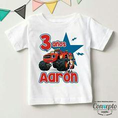31ce6c0bf2525 Para los 3 años de Aarón una playera para hacer más especial su fiesta de  cumpleaños