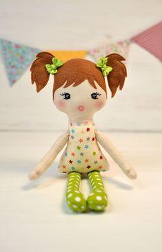 BUNNY Doll THIN// Fabric Doll //ORANGE HAIR