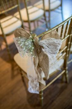 """DIY wedding ceremony decorations - ribbon, burlap and babys breath bows from Amanda & Blake's """"Southern Comfort"""", handmade & elegant DC wedding at the Whittemore House. Images by Emily Clack Photography."""