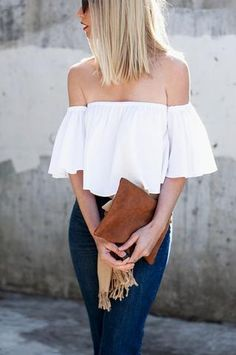 White off the shoulder flare loose crop summer cute top