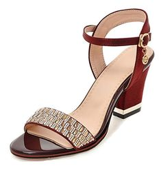 Aisun Women s Rhinestone Buckled Mid Block Heel Dressy Open Toe Sandals  Shoes With Ankle Strap - 65e8a95f716d
