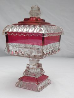 Vintage Indiana Glass Ruby Red Flash Covered Square Pedestal Compote Candy Dish - Centerpiece Serving Dish - Home Decor Collectible