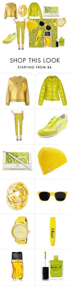 Yellow GREEN by nataly-germany on Polyvore featuring Golden Goose, Duvetica, Pianurastudio, Puma, Kate Spade, BP., Poler, Moschino, Estée Lauder and Lauren B. Beauty #fashion #moda #style #sport #hobby #yellow #green #apfelgrün #freizeit #hose #jacke #polyvore