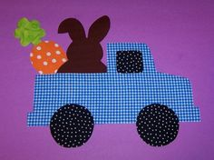 Fabric Applique TEMPLATE ONLY Truck With Bunny Carrot And Egg....New on Etsy, $1.50