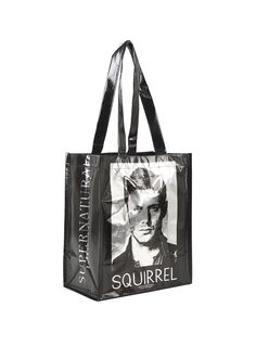 "<p>Small size tote from <i>Supernatural</i> with a black & metallic silver Sam & Dean design featuring their respective nicknames ""Moose"" & ""Squirrel.""</p>  <ul> 	<li>10"" x 6"" x 12""</li> 	<li>Imported</li> </ul>"