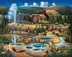 Yellowstone, the first National Park in the U.S. by folk artist Eric Dowdle